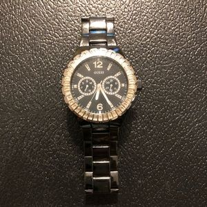 GUESS Womens Black Crystal Accented Watch #G13553L